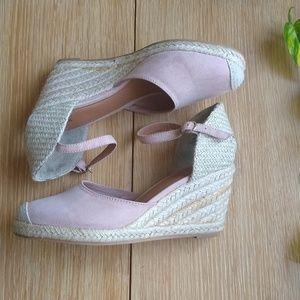 Pale pink suede espadrille wedge Mary Jane heels